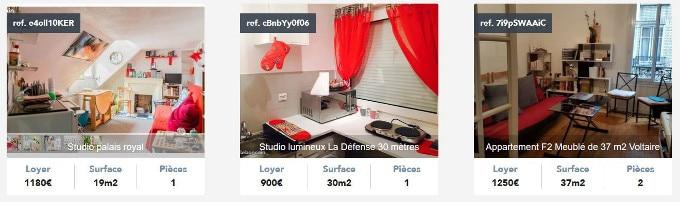 exemples de location de logements à paris