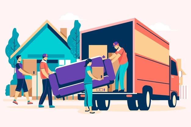 image de déménageur chargeant des meubles dans un camion